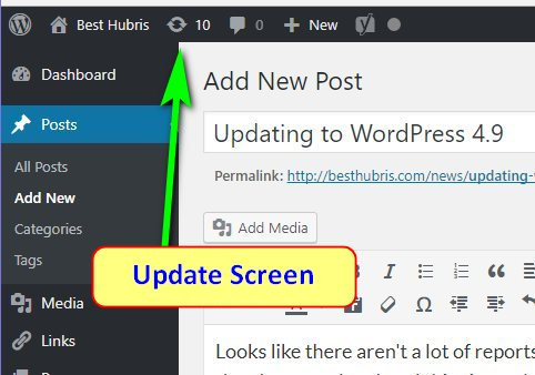 update wordpress plugins screen